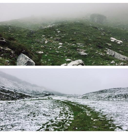 via alpina klausenpass in nebel und schnee